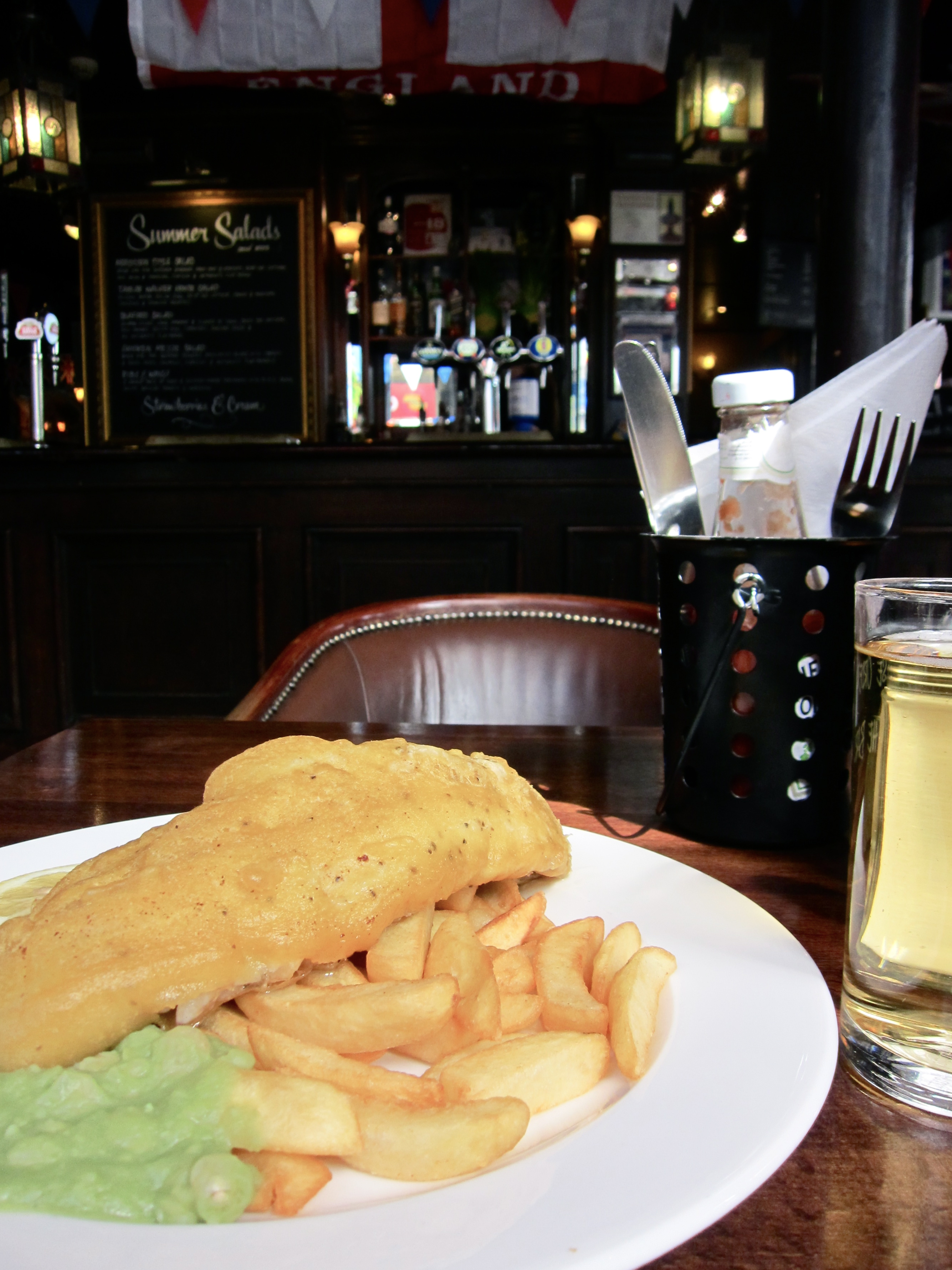 Fish and chips, London pub