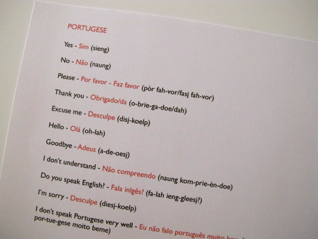 Portugese vocab cheat sheet