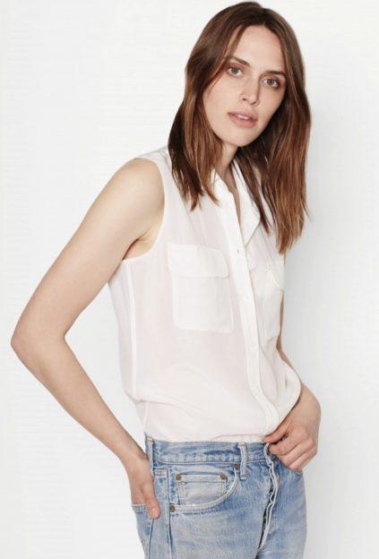 sleeveless silk shirt
